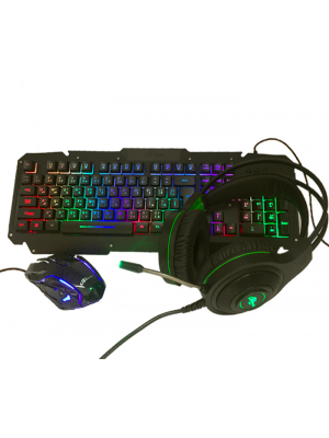 Keyboard, mouse and headphones metal wire luminous lighting different
